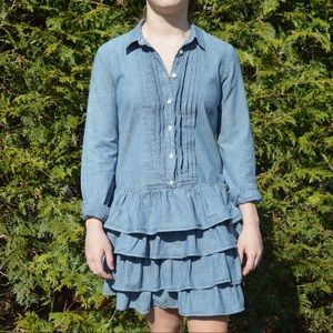 J Crew Jean Dress With Ruffles Size 0